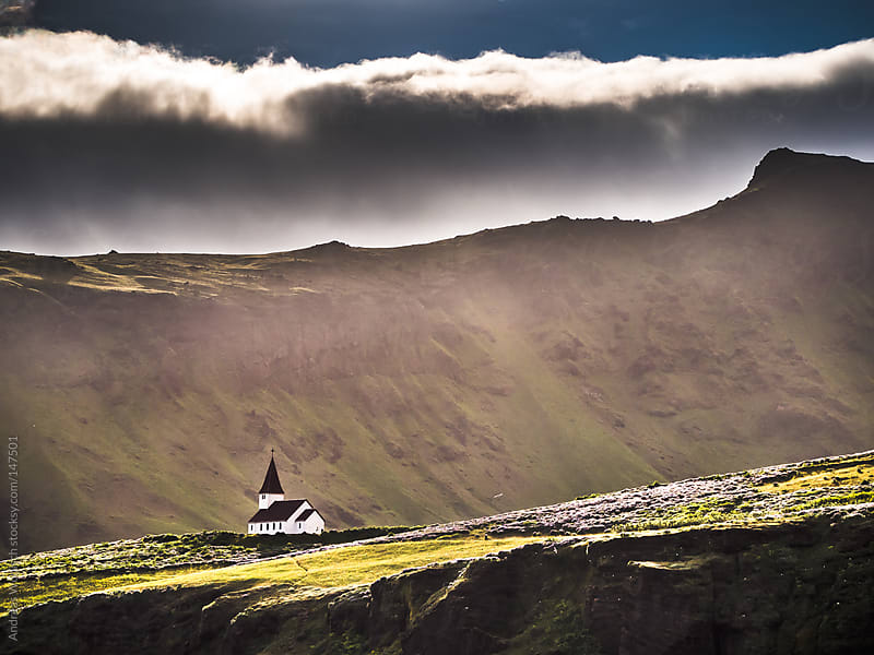 Lonely Church in Iceland's Vik i Myrdal by Andreas Wonisch for Stocksy United