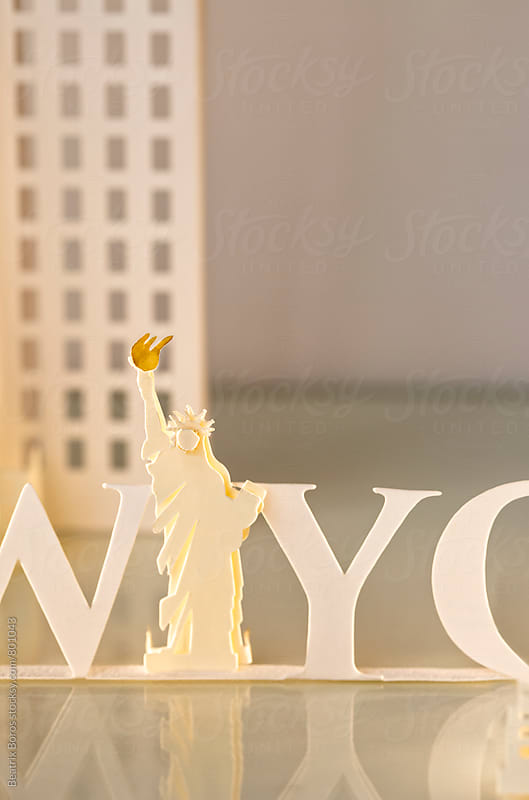 Statue of Liberty paper craft with NYC text by Beatrix Boros for Stocksy United