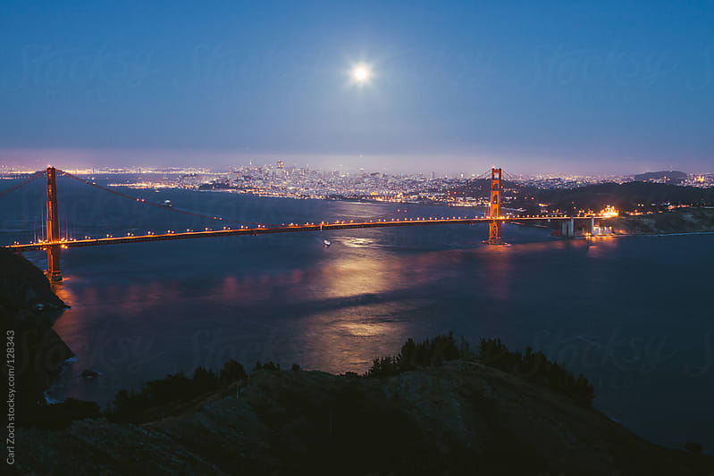 Golden Gate Bridge at Night by Carl Zoch for Stocksy United