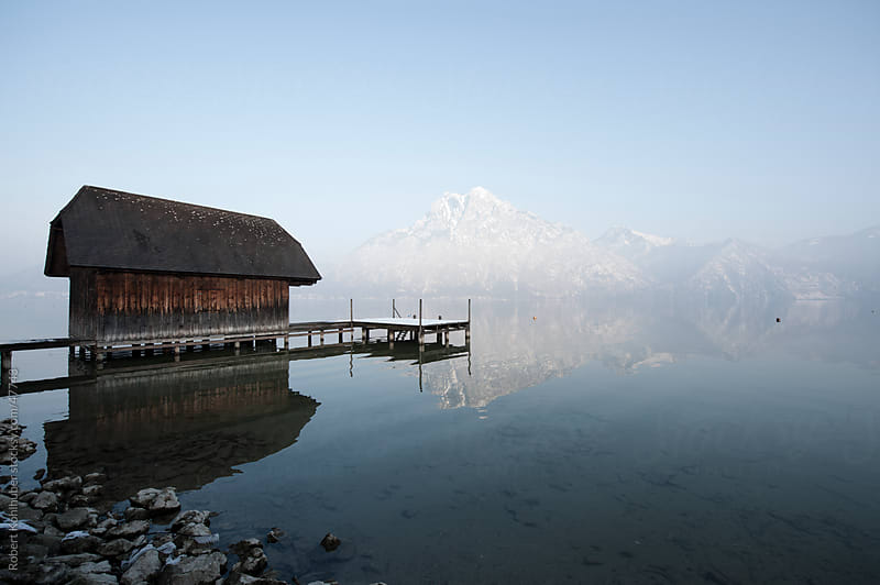 Hut at the traunsee lake in Gmunden, Austria the mountain Traunstein by Robert Kohlhuber for Stocksy United