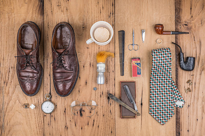 Collection of Antique Men's Grooming and Dressing Items by suzanne clements for Stocksy United