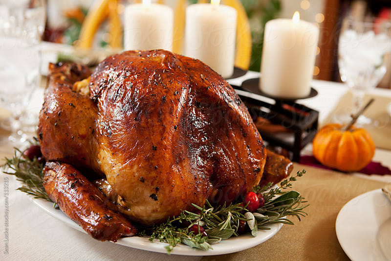 Thanksgiving: Roast Turkey On Platter With Herbs by Sean Locke for Stocksy United