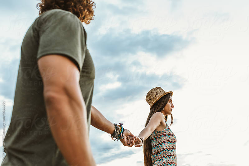 Affectionate Young Beautiful Couple Having Fun Outdoors