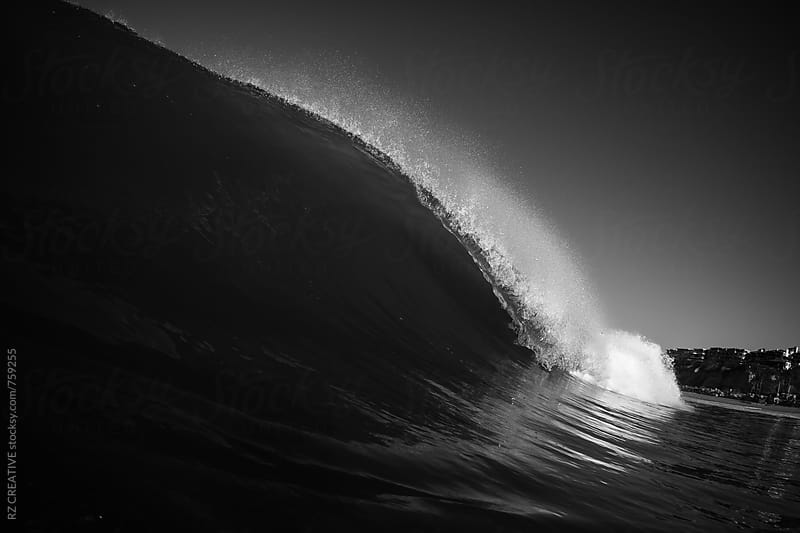 Black and white water shot of a breaking wave. by RZ CREATIVE for Stocksy United