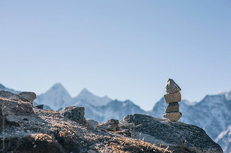 Trail marker on the Everest trail, Everest region by Soren Egeberg for Stocksy United
