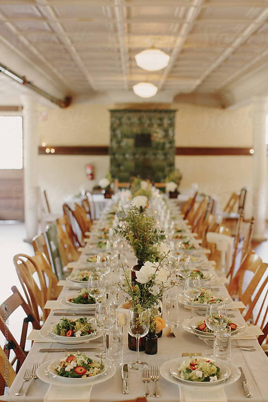 Vintage Wedding Table Set Up  by Sidney Morgan for Stocksy United