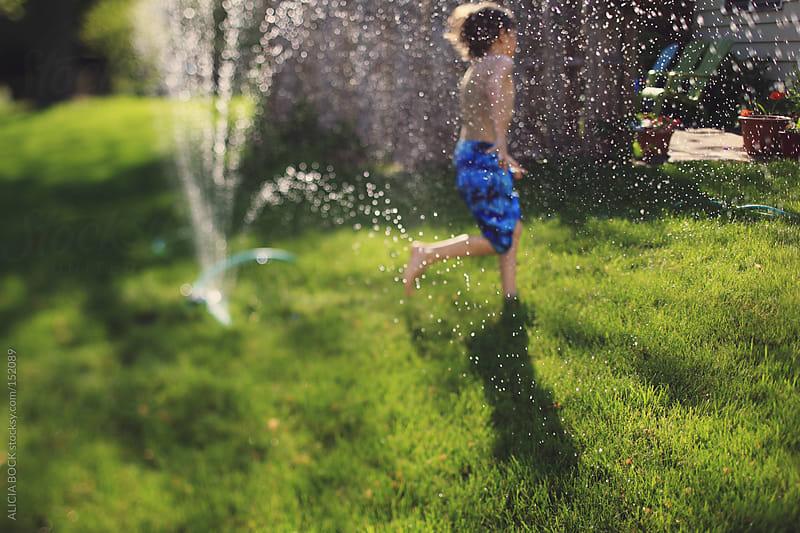 Backyard Sprinkler Fun by ALICIA BOCK for Stocksy United