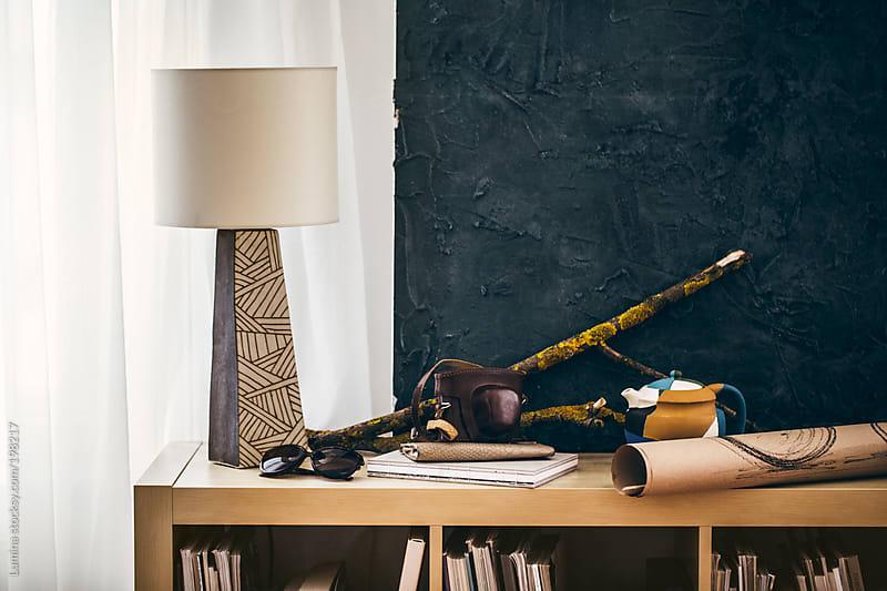 Lamp on a Bookshelf by Lumina for Stocksy United
