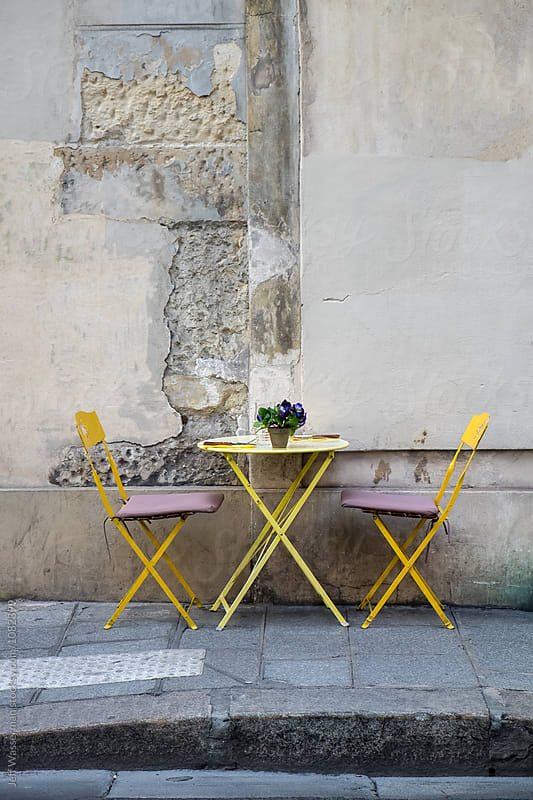 Table at Outdoor Cafe in Paris by Jeff Wasserman for Stocksy United