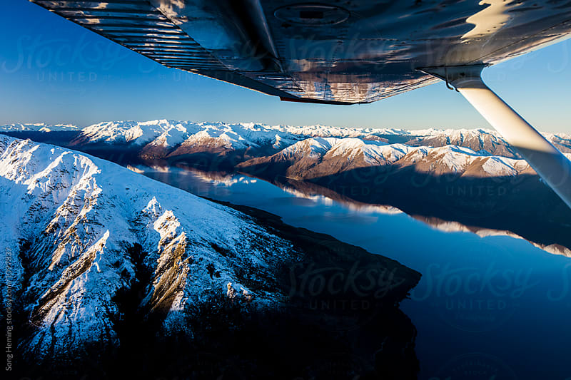 Beautiful aerial view of  lake Hawea by Song Heming for Stocksy United