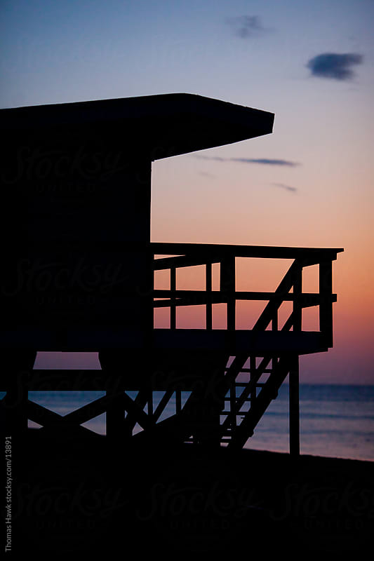 Lifeguard stand at sunrise in Miami, FL by Thomas Hawk for Stocksy United