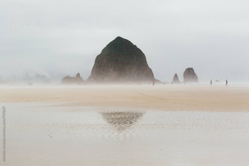Foggy morning at Haystack Rock, Cannon Beach by michela ravasio for Stocksy United