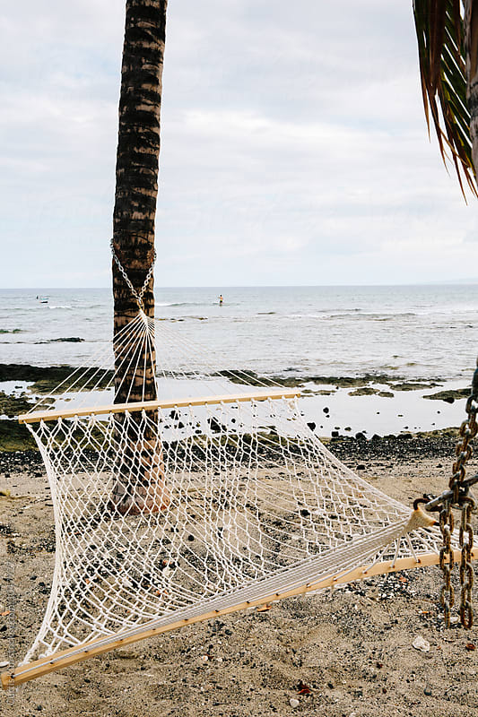 Hammock tied to palm trees at the beach by Curtis Kim for Stocksy United