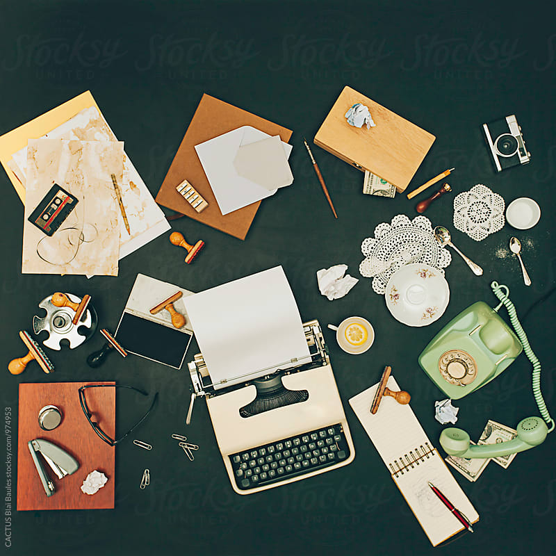 Messy vintage office desktop by Blai Baules for Stocksy United