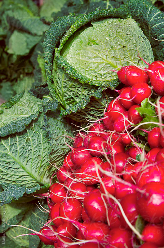 Fresh beets and kale on market by Marija Anicic for Stocksy United