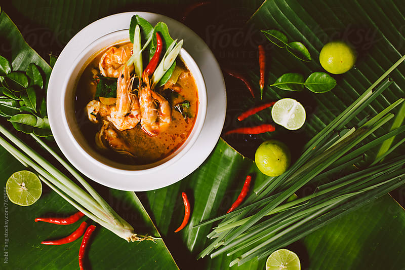 Tom Yum Kung styling on banana leaves by Nabi Tang for Stocksy United