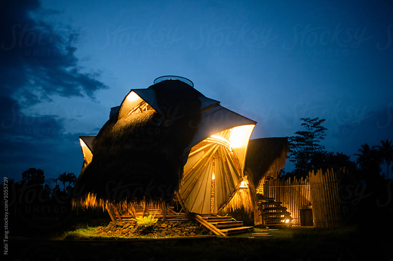 Strange shape of bio architecture dome made from bamboo at night by Nabi Tang for Stocksy United