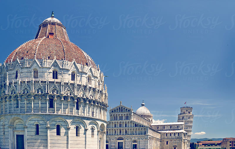 The Baptistery with the leaning Tower of Pisa by Leander Nardin for Stocksy United