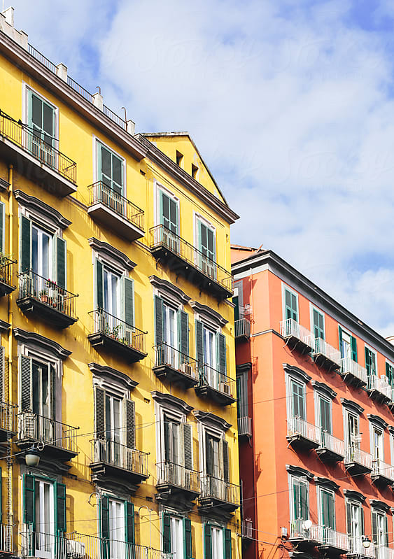 Colorful facades in Naples, Italy, on a sunny day by Aleksandar Novoselski for Stocksy United