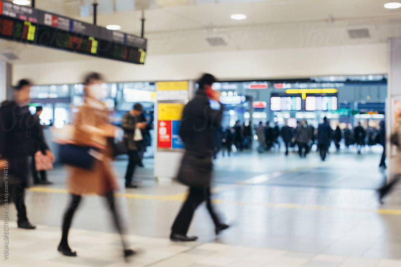 Busy Tokyo Train Station Defocused by VISUALSPECTRUM for Stocksy United