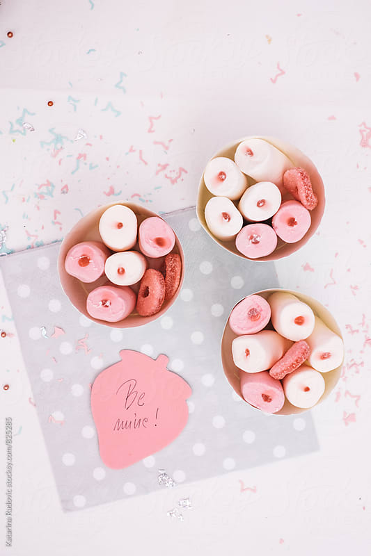 Pastel Cups of Marshmallows With Romantic Note by Katarina Radovic for Stocksy United