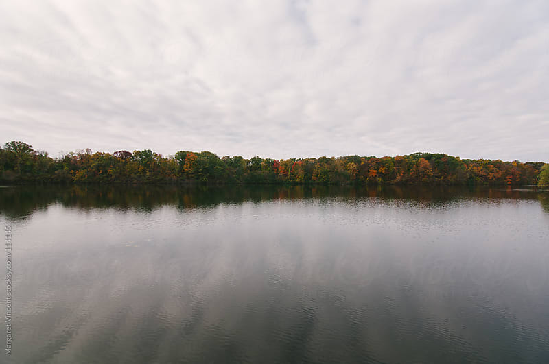 autumn trees reflected in a lake by Margaret Vincent for Stocksy United