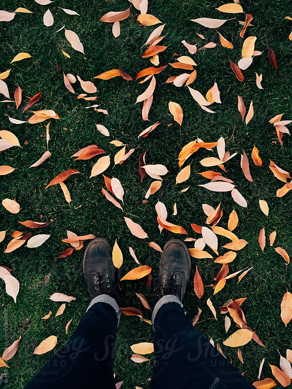 Trendy Boots Standing on Colorful Leaves by B. Harvey for Stocksy United