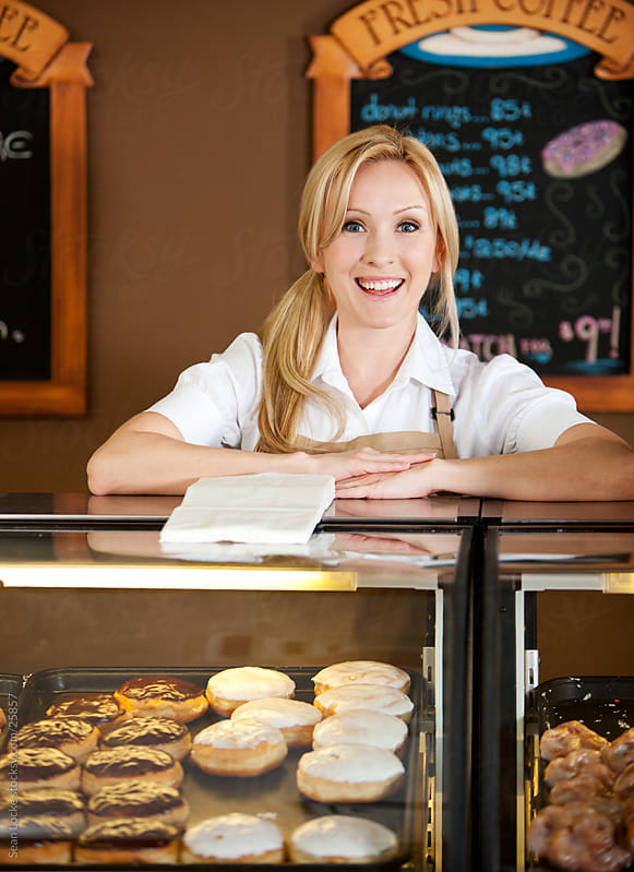 Bakery: Laughing Bakery Owner by Sean Locke for Stocksy United