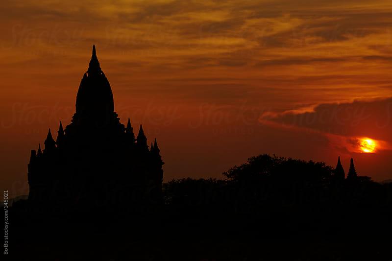 sunset in Bagan Myanmar by Bo Bo for Stocksy United