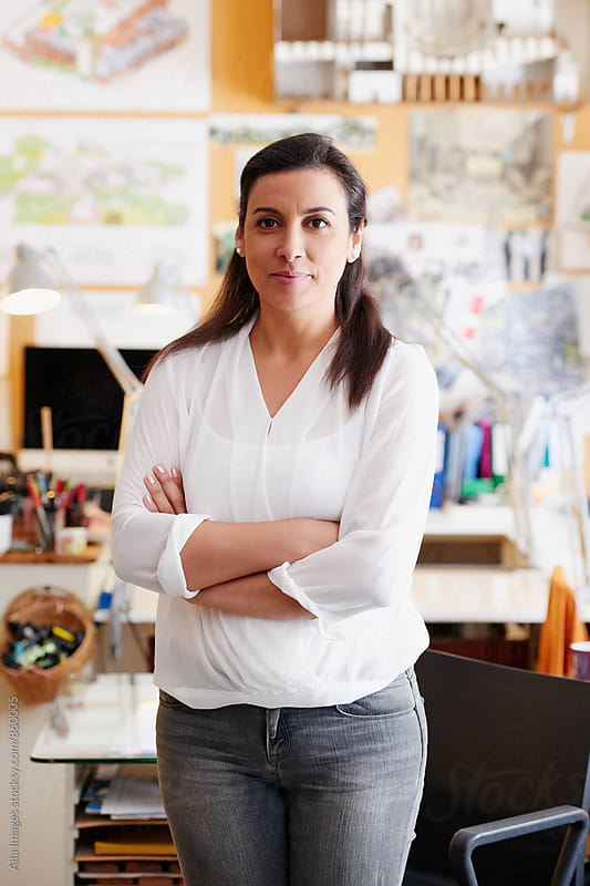 Portrait of middle eastern businesswoman leader at the office by Aila Images for Stocksy United