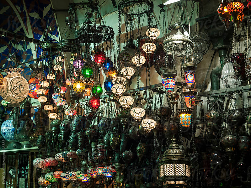 Colored stained glass lights on display in Grand Bazaar, Istanbul, Turkey by DV8OR for Stocksy United