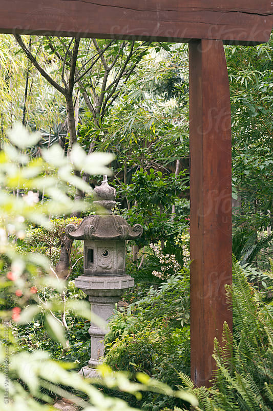 japanese garden lantern by Gillian Vann for Stocksy United