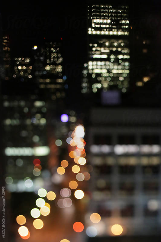 Abstract City LIghts In Downtown Toronto At Night by ALICIA BOCK for Stocksy United