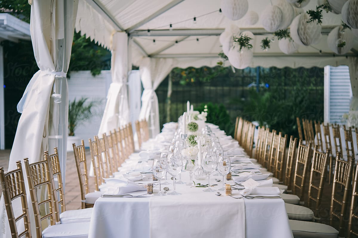 Table setup for an outdoor party, outdoor wedding table. by Adrian Cotiga -  Table, Weddind - Stocksy United
