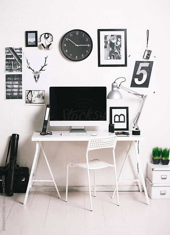Modern creative workspace with computer. The office of a creative worker.  by BONNINSTUDIO for Stocksy United