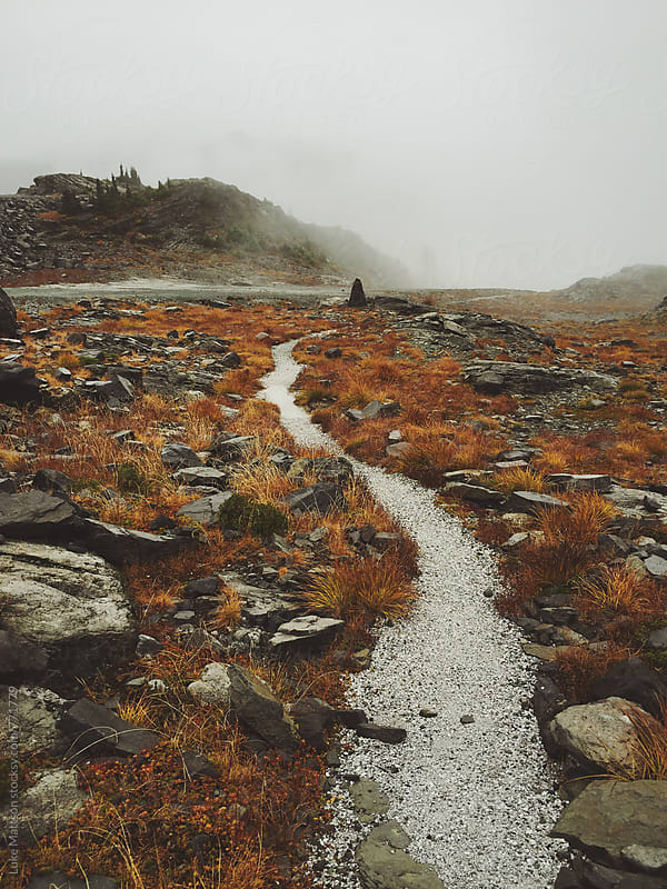 Winding Gravel Path Through Foggy Rocky Landscape Full Of Orange Brush by Luke Mattson for Stocksy United