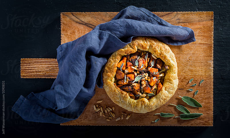 Roasted Squash and Leek Galette  by Jeff Wasserman for Stocksy United