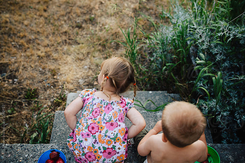 Cute toddler brother and sister sitting outside eating fresh strawberries in summer. by Jessica Byrum for Stocksy United