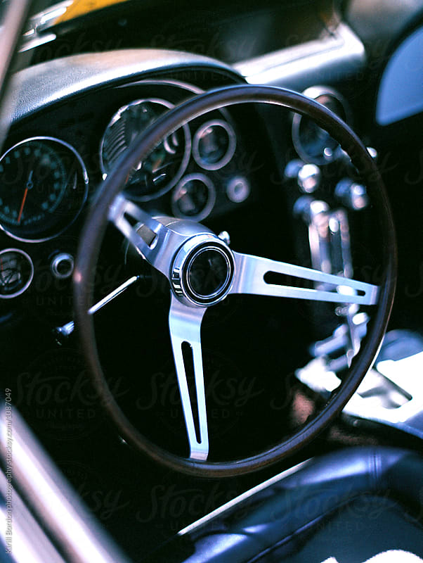vintage sports car interior by Kirill Bordon photography for Stocksy United
