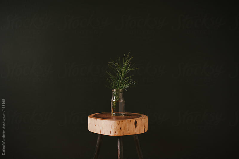Simple christmas decor tree branch in recycled glass on wood stool with black background by Daring Wanderer for Stocksy United