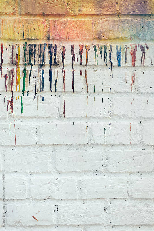 Rainbow Coloured White Brick Wall by Nemanja Glumac for Stocksy United