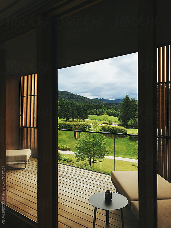 View of Alpine Countryside From Stylish Wooden Balcony by Julien L. Balmer for Stocksy United