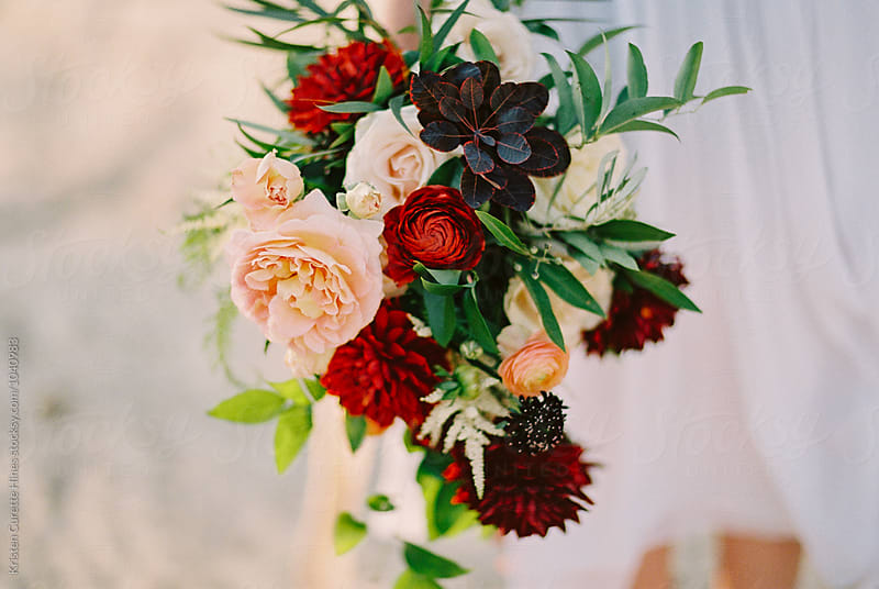 Large beautiful flower bouquet with Dahlias & garden roses by Kristen Curette Hines for Stocksy United