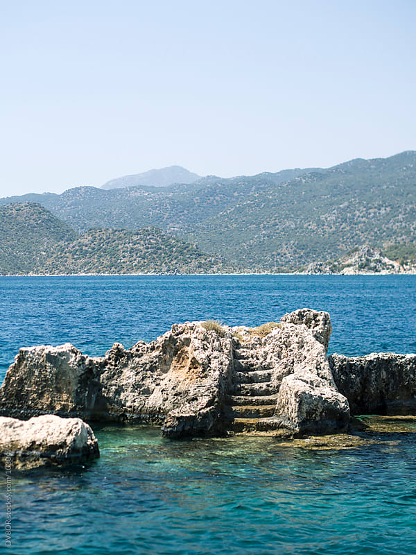 Staircase from underwater ruins at Simena, Turkey by DV8OR for Stocksy United