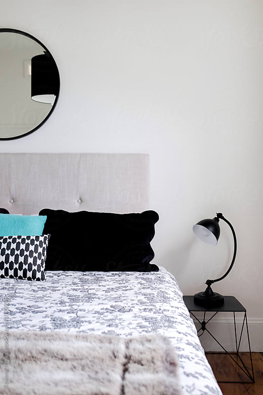 Contemporary styled bedroom interior by Rowena Naylor for Stocksy United