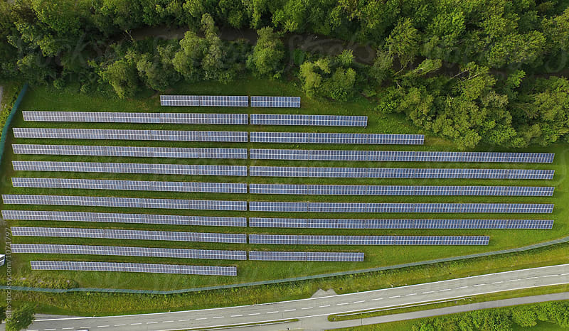 Aerial view to solar power plant. by rolfo for Stocksy United