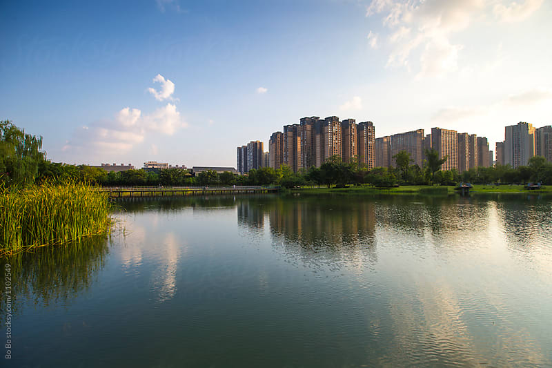 cityscape of Chengdu Sichuan China by Bo Bo for Stocksy United