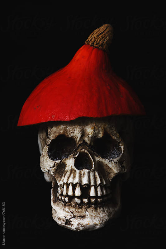 Skull with pumpkin hat by Marcel for Stocksy United