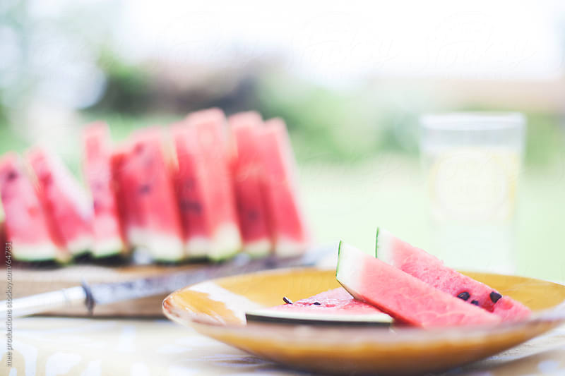 Summer dessert fresh watermelon. by mee productions for Stocksy United