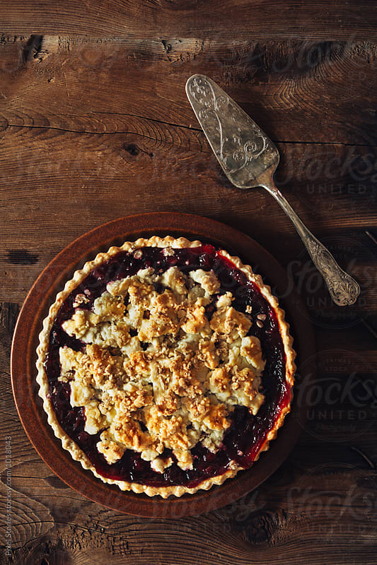 Cherry crumble pie by Pixel Stories for Stocksy United